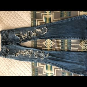 American Eagle bell bottoms boho artist jeans